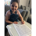 Connie is busy with her word search