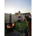 Lara roasting marshmallows