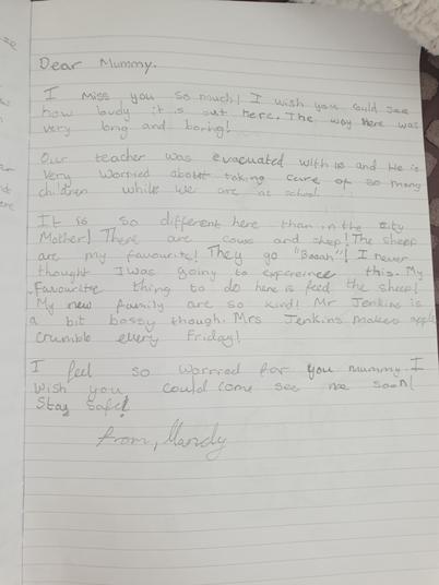 Mandy evacuee letter