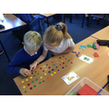 We made arrays to help us with our times tables.
