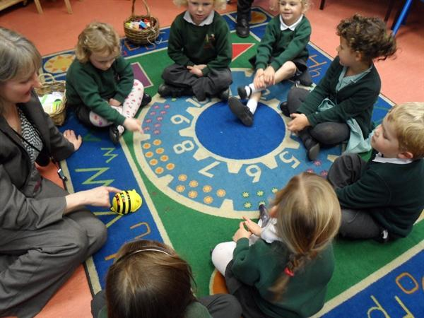 The Reception children programmed the Bee Bots