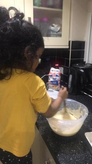 Naairah has been busy baking a cake!