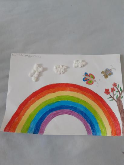 Amirah has made a beautiful rainbow at home.