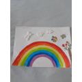 Amirah has made a beautiful rainbow at home.