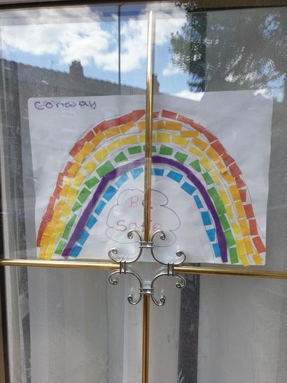 Haleema has made a colourful rainbow.