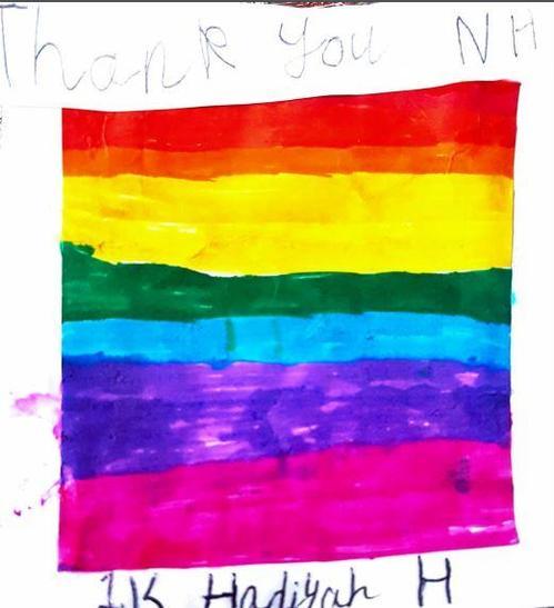 Hadiyah painted a colourful rainbow!