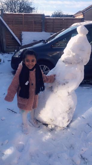 Naairah and her snowman!