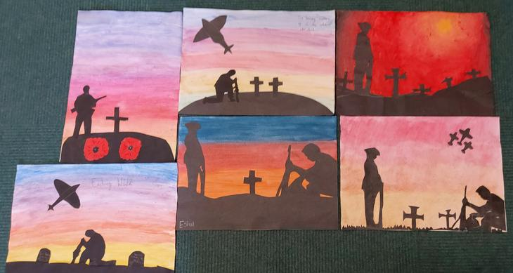 World War silhouette paintings
