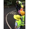 The children inspecting the builder's work!