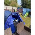 Thomas has been camping in his garden.
