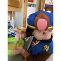 Thomas or Chase baking a cake!