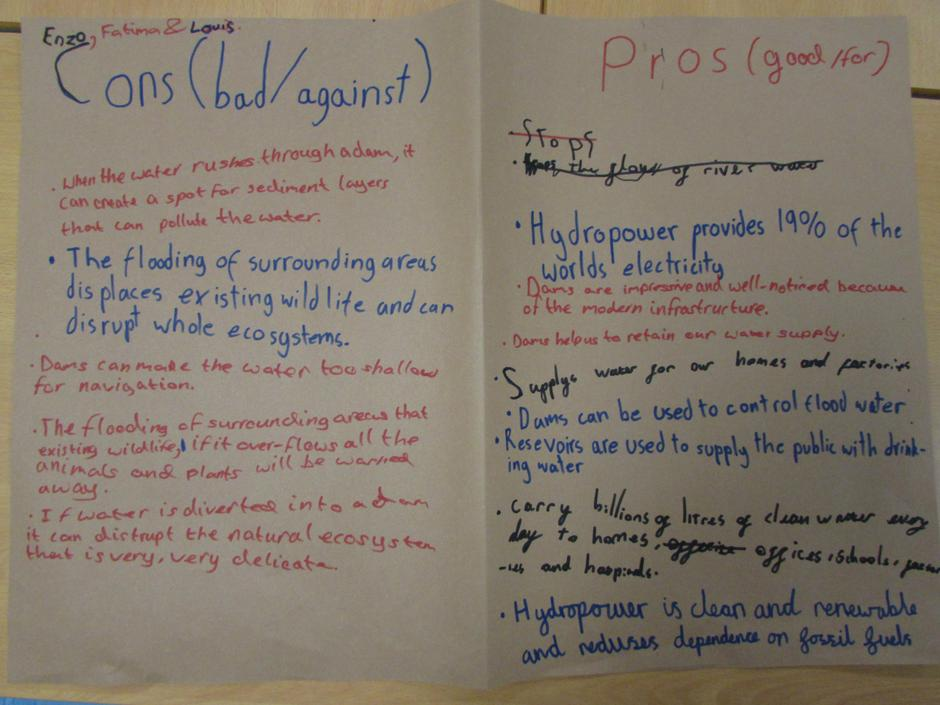 Pros and Cons of Dams (Group Write)