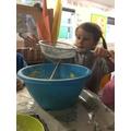 Sieving the flour
