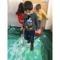 Monstery fun making footprints