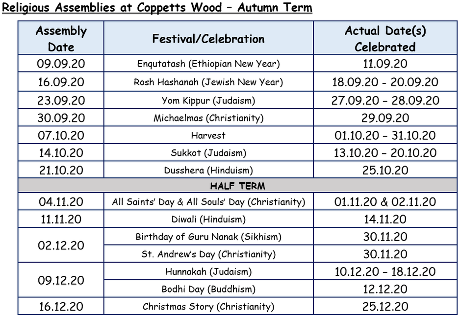Autumn Term 2020 Timetable of Our Religious Assemblies