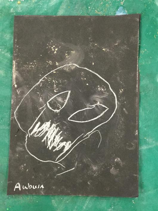 A spooky chalk drawing!