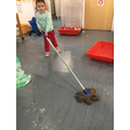 Mopping the floor after making monster footprints