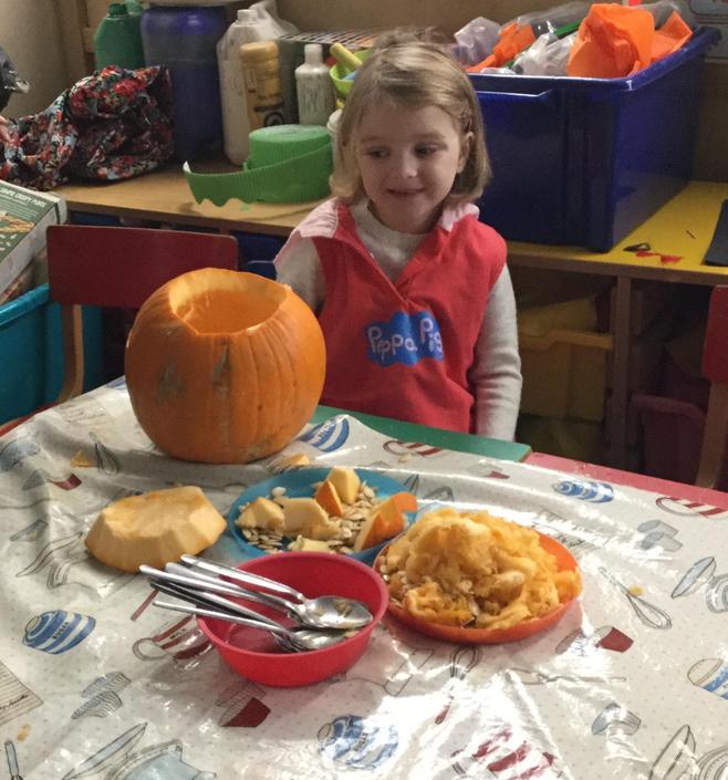 Preparing the pumpkin for carving