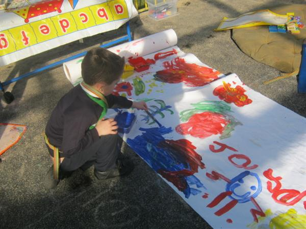 Painting outdoors!