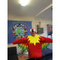Mrs Bird dressed as a parrot!