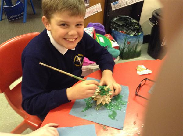 Decorating our Christmas trees made from salt doug