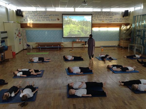 Enjoying our yoga session!
