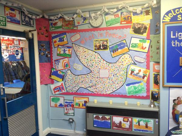 Y1 Peace Display in the Entrance Hall