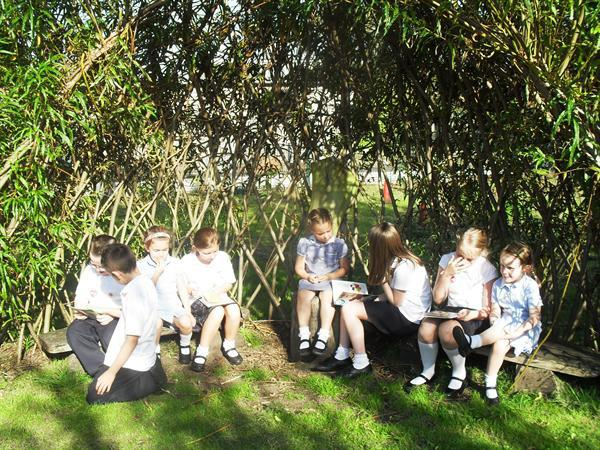 Enjoying Buddy reading with Year 5 in the willow