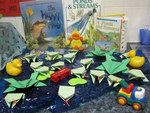 Our origami frogs in our class pond!