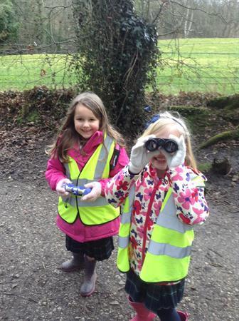 The girls enjoying exploring the outdoors!