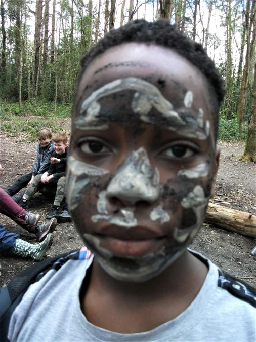 Clay face painting into a mask!
