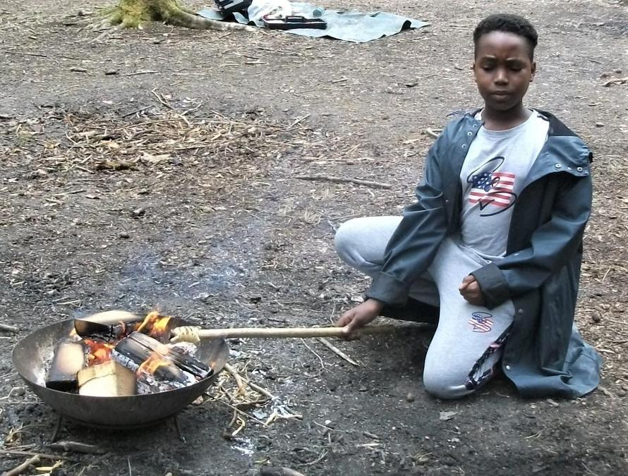 Baking over the campfire