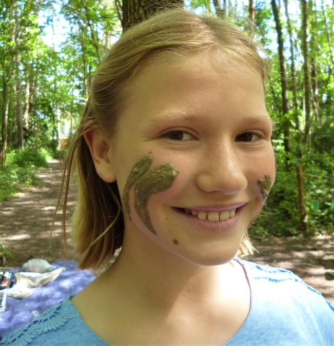 Big smiles with a clay decorated face!