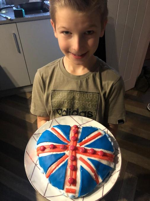 Freddie & his yummy VE Day inspired DT cake!