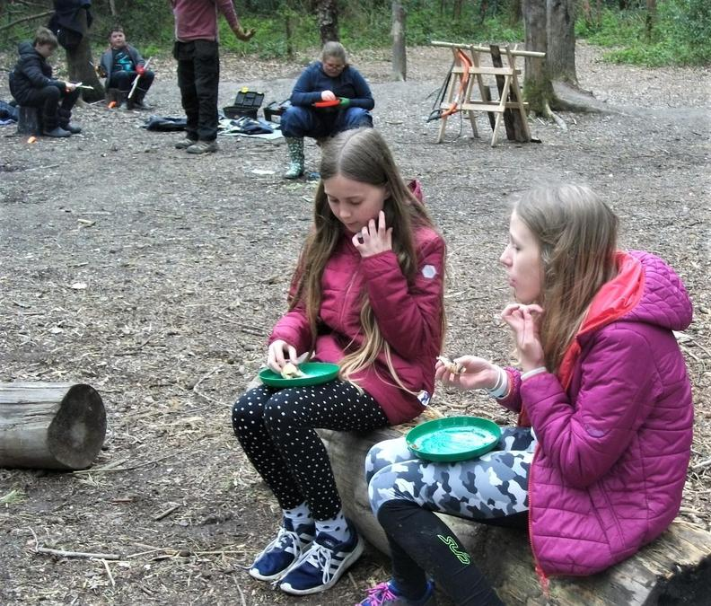 Hot pastry snacks around the campfire