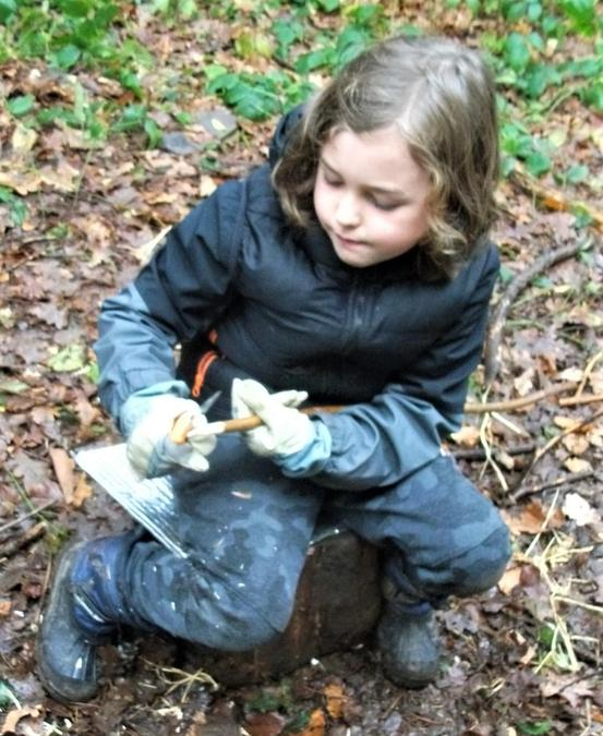 Creative whittling in the winter woods