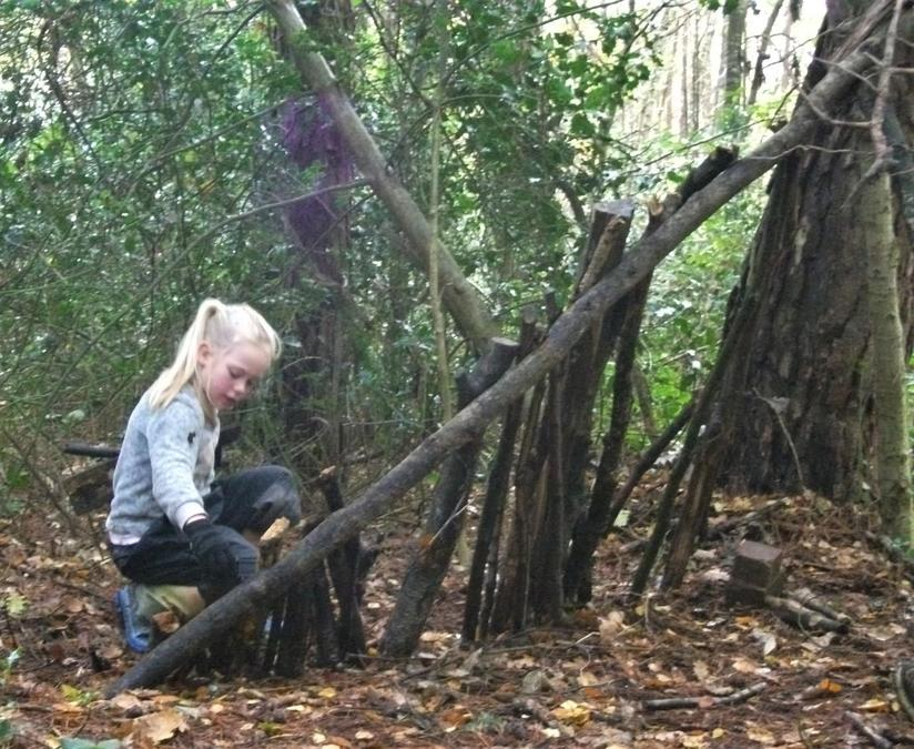 Carefully building a den in the autumn leaves