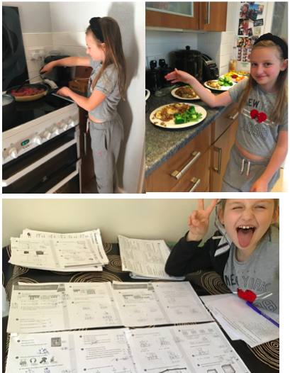 Lois having fun with Maths & making dinner for DT.
