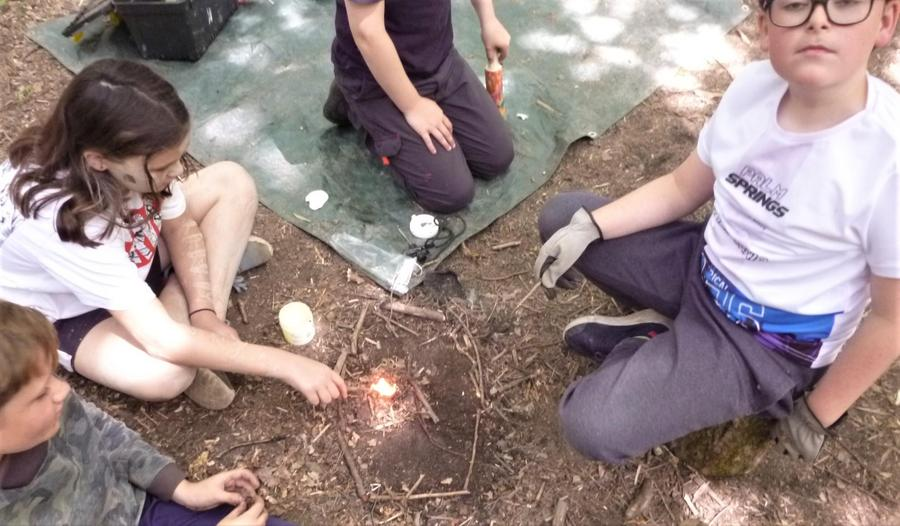 Working on the mini fire as a team