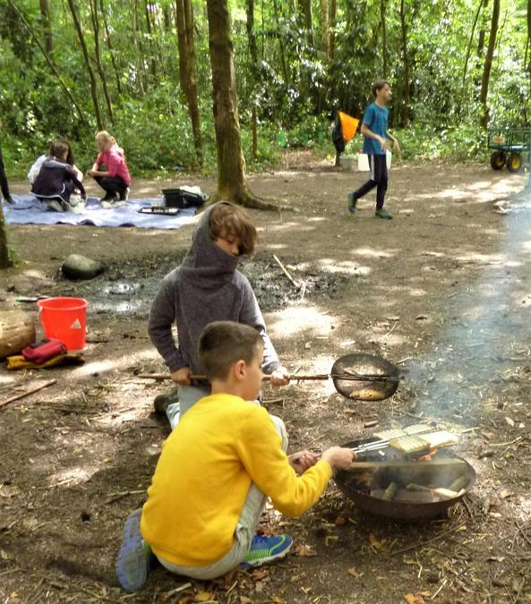 The chefs are hard at work in the summer Forest School