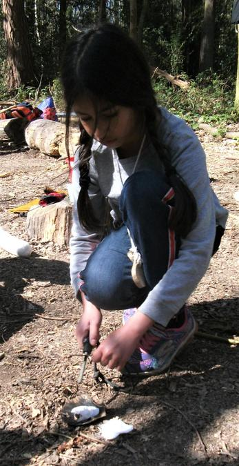 Starting a carefully controlled mini campfire