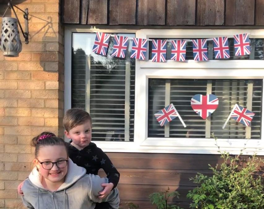 Abi and her little brother celebrating VE Day.