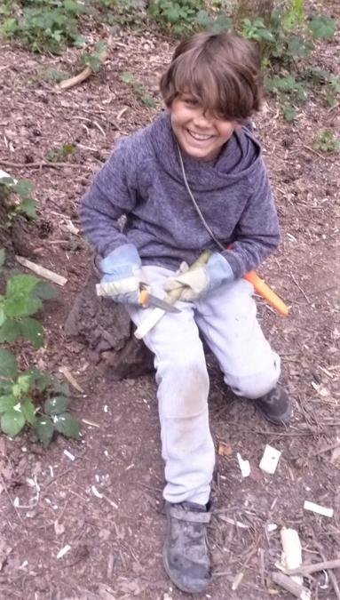 Happy chappy whittling in the woods