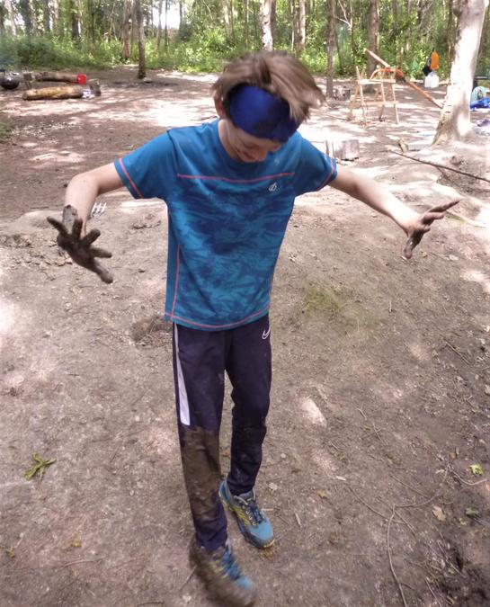 Blindfold games with a partner who didn't warn about the muddy puddle!