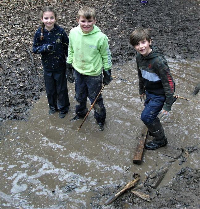 Where there is mud and water ... there will be children having fun!