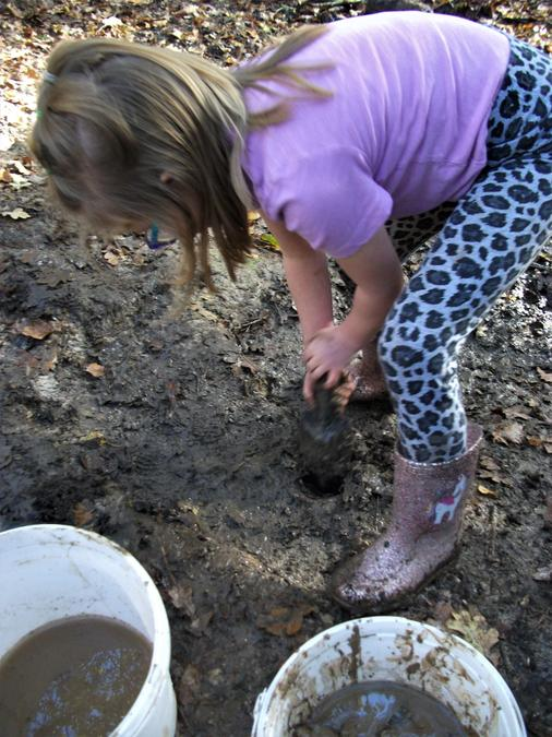 Making buckets of runny mud