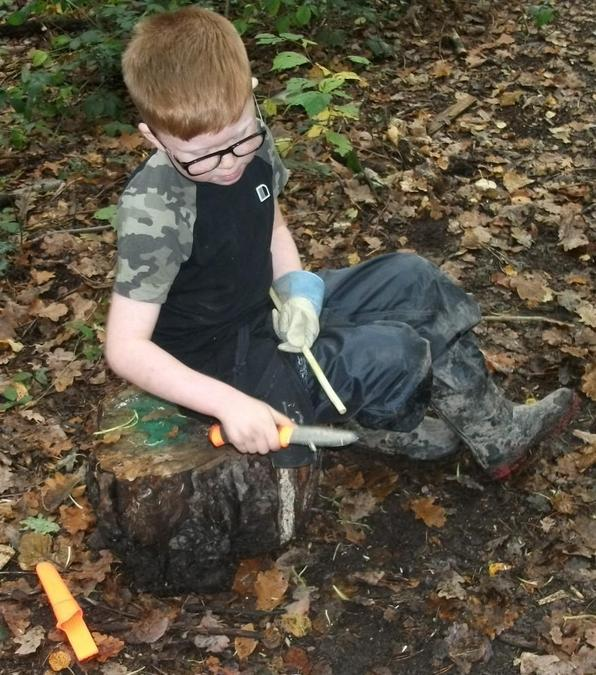 Whittling to shape the end of a willow wand