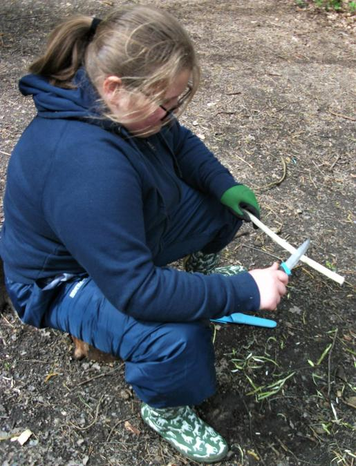 Chilled out whittling at Forest School
