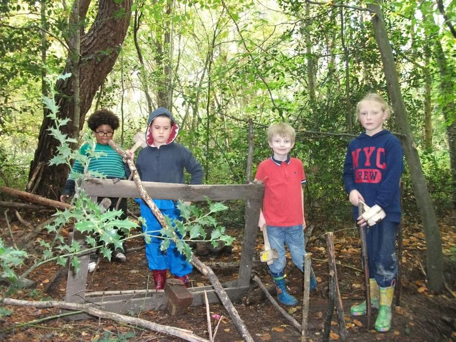 Creating a secret den in the woods