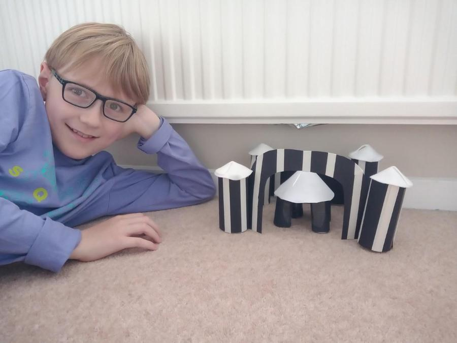 A proud Monty and his ancient Greek temple!
